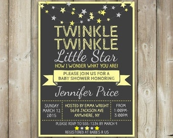 Twinkle Twinkle Little Star Baby Shower Invitation, Yellow Stars, Neutral Baby Shower Invite, Digital File, Printable