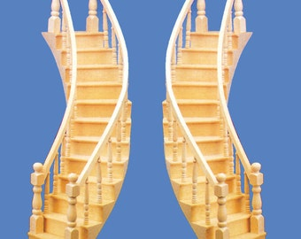 1:12 Scale Miniature Dollhouse Curved Staircase (Assembled - Left/Right)