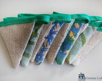 Bespoke Screen Printed Mini Bunting - Greens/Blues/Natural