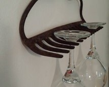 Wine Glass Holder Four Glasses Rustic Rake Bar Kitchen Decor  -On Sale