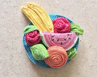 Vintage Retro Woven Straw Fruit Basket Brooch
