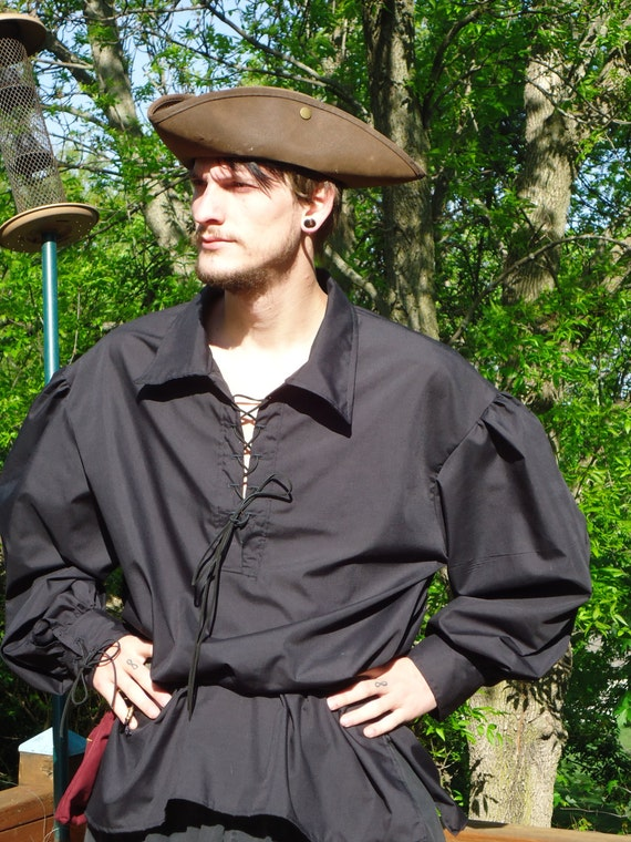 Unisex Renaissance Style Shirt with Suede Leather Lacings