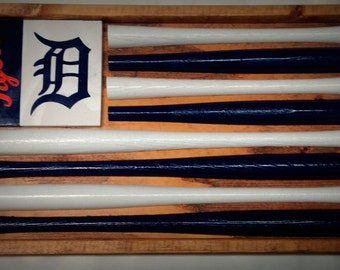 Detroit Tigers Baseball Bat Flag