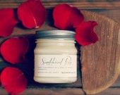 Sandalwood Rose - Mason Jar Soy Candle - rose petals, sandalwood - phthalate free - gift ready