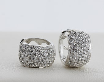 Pave Set Diamond Huggy Hoops in White Gold