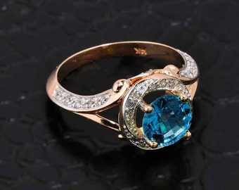Blue Topaz Ring, Rose Gold Diamond Blue Topaz Halo Engagement Ring, Diamond Blue Topaz Rose Gold Ring, Pave Diamond, Halo Engagement Ring