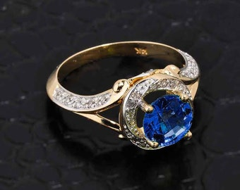 Blue Sapphire Ring, Gold Diamond Blue Sapphire Halo Engagement Ring, CZ Blue Sapphire Ring, Gold Pave Diamond Ring, Halo Ring