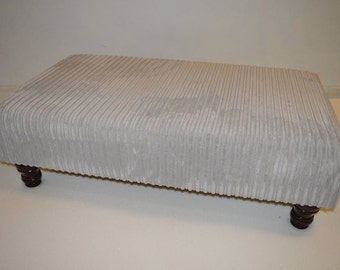 Large Footstool Upholstered In Silver Jumbo Cord Fabric With Turned Hardwood Legs