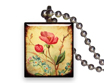 Vintage Wild Flower Bulb - Reclaimed Scrabble Tile Pendant Necklace