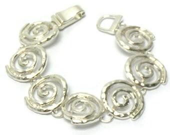 Silver Swirl Link Bracelet
