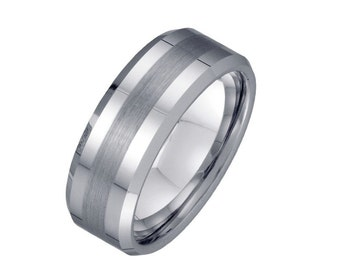 Mens 8mm Tungsten Wedding Band - Brushed line Custom Ring Engravable - Men's Engagement Anniversary Ring
