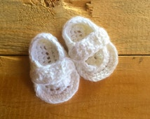 White Crochet Baby Strap Flip Flops: sizes 0-3 m, 3-6 m, 6-9 m, & 9-12 months MADE TO ORDER; red green blue pink lilac white yellow