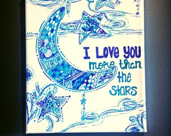 Canvas Quote Art ~ I love you more than the stars