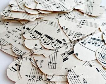 Music Hearts, Vintage Music Hearts Confetti, Music Note Confetti, 100 Ct.
