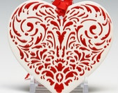 red heart ORNAMENT, porcelain bisque, simple raised design, flat heart shape