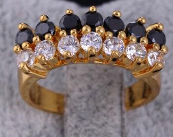 White/Black Sapphire Cluster - 18k Gold Filled Ring Sz : 7