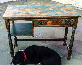 SOLD - Farmhouse Vintage Antique Desk, shabby chic distressed shades of green w/ warm metallic undertones & garden hose turn knobs on staine