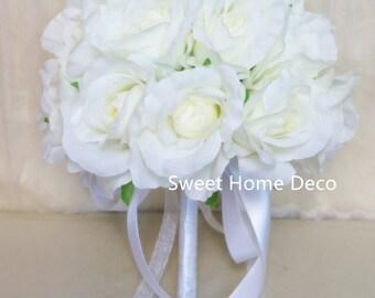 JennysFlowerShop One Dozen/Two Dozen Soft Silk Rose Wedding Bouquet in White Bridal Bridesmaid Flower Girl Toss Bouquet White