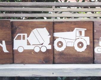 Wooden Truck Nursery Art Package - 4 wooden truck signs