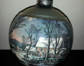 vintage currier and ives ornament old griss mill
