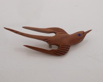 Hand Carved Wood Swallow Bird Brooch