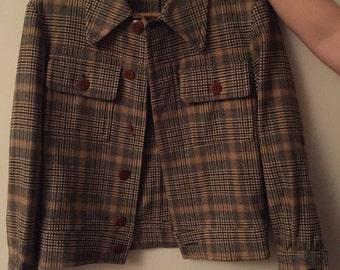 SHOP CLOSING SALE! Vintage Wool Plaid Crop Jacket Blazer - sale!