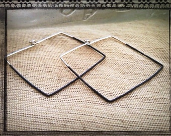 Recycled silver square hoops 1/2 oxidized.