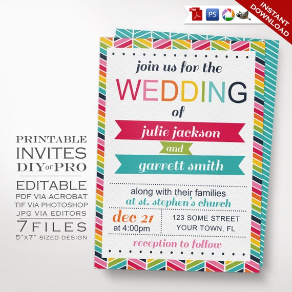 wedding invitation template rainbow wedding invitation printable diy rainbow chevron wedding invitation editable bright wedding invite - Rainbow Wedding Invitations