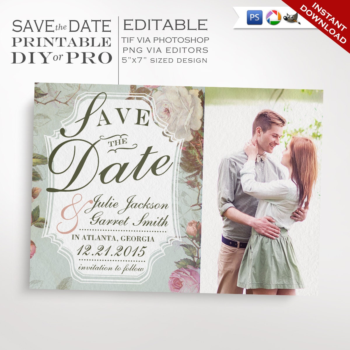 Save The Date Wedding Template Vintage Rose Wedding Photo