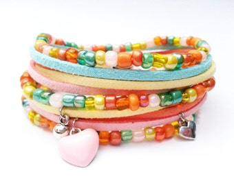 Wrap Pastel Bracelet Pink Turquoise Orange Yellow Bracelet Orange Pink Turquoise Jewelry Beaded Bracelet Summer Bracelet Seed Bead Bracelet