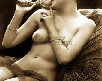 Victorian Risqué Nude Erotic Vintage Sepia Art Print | Risque Erotica Poster