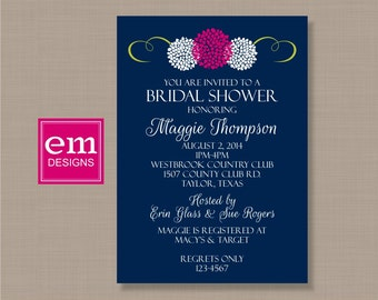 Wedding Shower Invitation Floral Bridal, DIY print, custom, Wedding shower invite, navy, fuchsia, magenta, pink