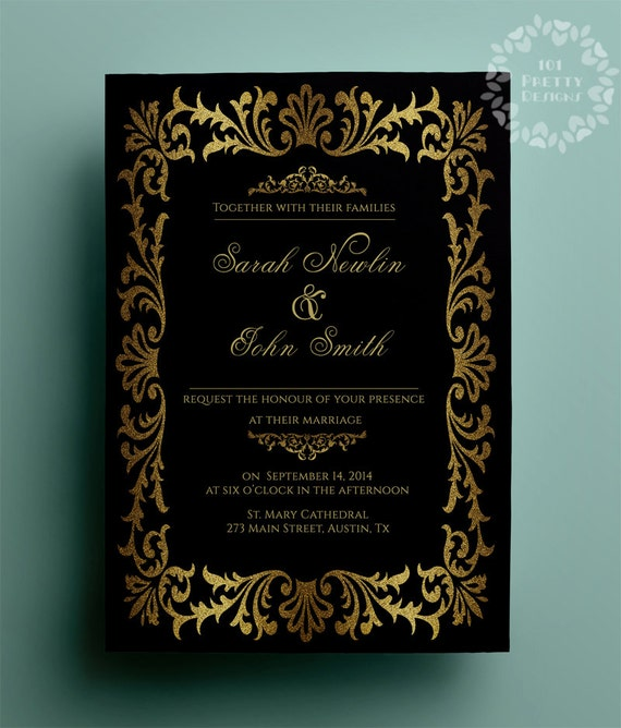 Gold wedding invitation great gatsby wedding invitation template
