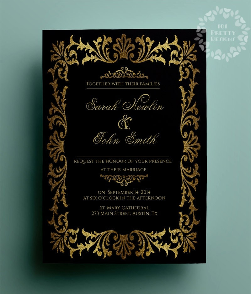 Gold Wedding Invitation Great Gatsby Wedding Invitation