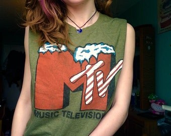 Vintage Military/Army Green MTV Tank