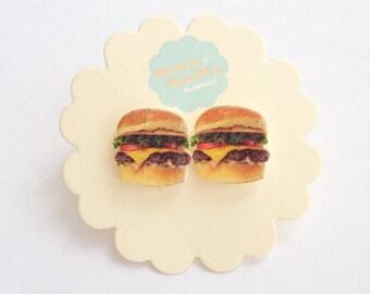 Burgers on Silver Plated Stud Earrings