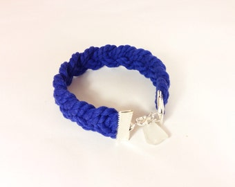 Navy Blue Braided Rope Bracelet with White Beach Glass Accent