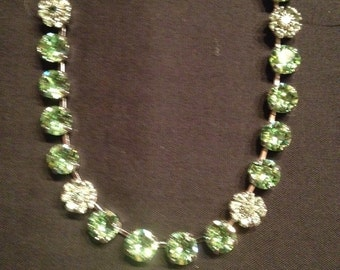 Swarovski 8mm necklace with crystal floral accents
