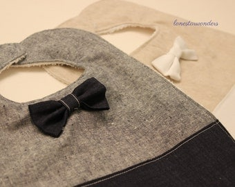 Baby Boy Bow Tie Bib Set