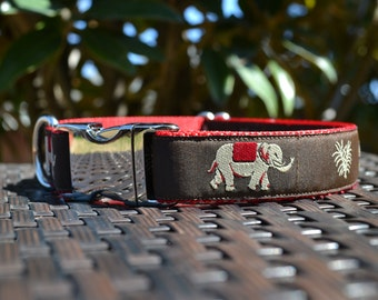 Elephant Print Dog Collar with Red Nylon Webbing (Adjustable; Metal Buckle)