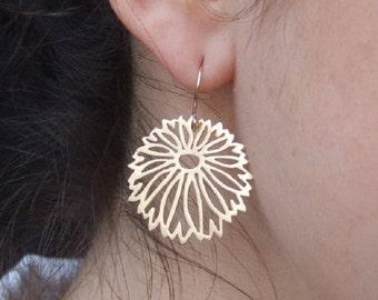 Round Flower Dangle Earrings, 14K Yellow Gold Plated Earrings, Floral Earrings
