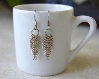 Silver Metal Chain Dangle Earrings