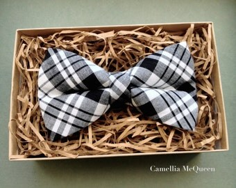 SALE! Men's bow tie, boys' bow tie, black and white tartan bow tie
