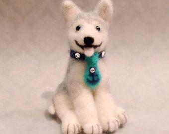 Needle Felted Husky, Felted Husky Puppy, Miniature Husky