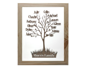 Personalised Family Tree cut from Wood and Framed
