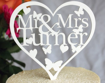 Heart Shaped Personalised Wedding Cake Topper Decoration - add any name