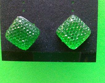 Handmade Lime Green Post Earrings