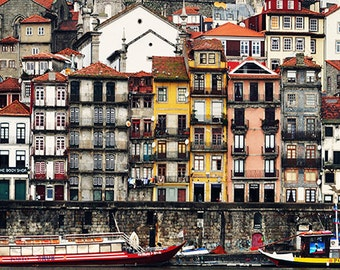 Digital download. Houses and boats in Porto, Portugal. image size 3540 x 1580