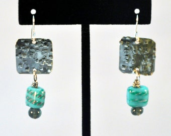 Unique silver textured square earrings with turquoise square bead