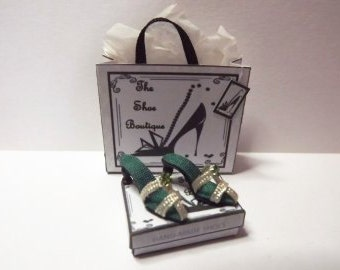Dolls house miniature green & cream silk sandal shoes 1/12th scale